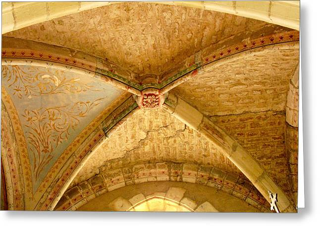 Church Greeting Cards - Vaulted Ceiling in Collegiate Church of Saint Sylvain Levroux France Greeting Card by Randi Kuhne