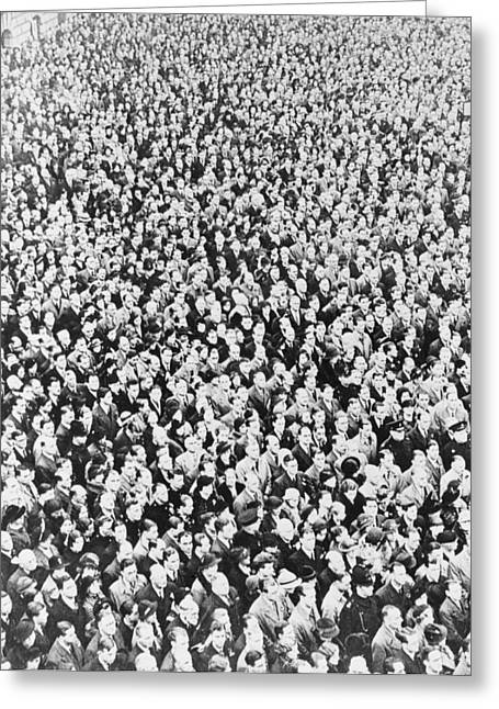 Public Administration Greeting Cards - VE Day crowd, London, 1945 Greeting Card by Science Photo Library