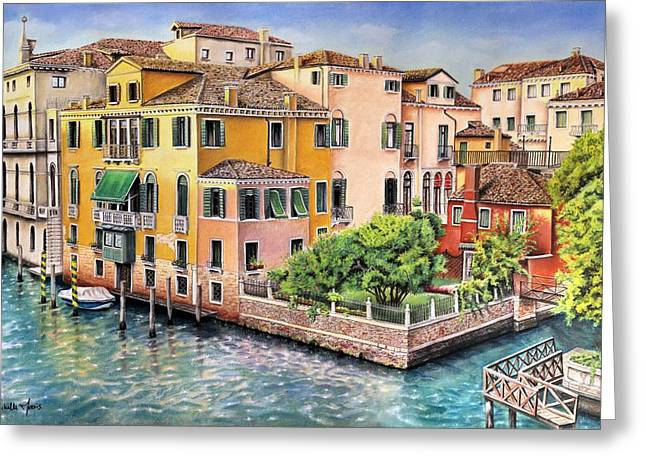 Docked Boat Pastels Greeting Cards - Veatch Greeting Card by Mchelle Morris