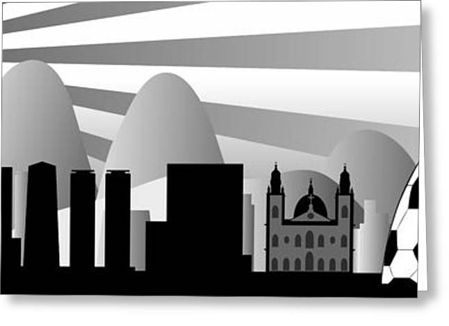 Allegoric Greeting Cards - vector Rio skyline with ball Greeting Card by Michal Boubin