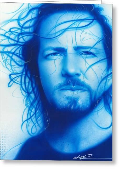 Eddie Vedder - ' Vedder ' Greeting Card by Christian Chapman Art