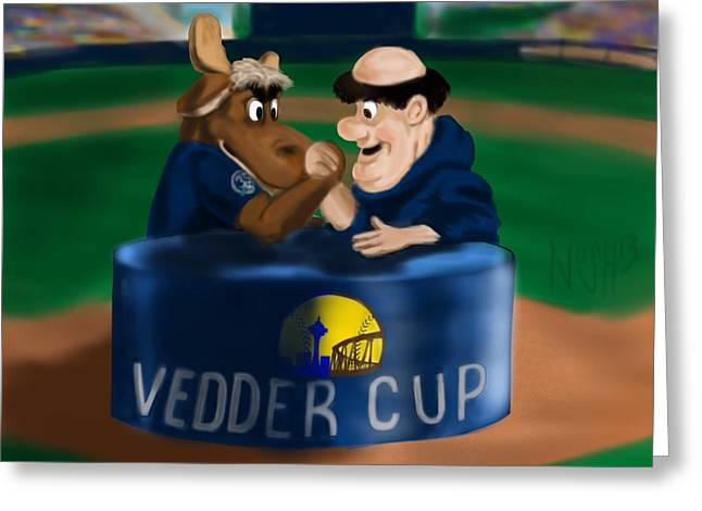 Petco Park Digital Art Greeting Cards - Vedder Cup Mascots Greeting Card by Jeremy Nash