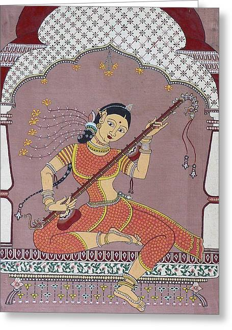 Playing Musical Instruments Greeting Cards - Veena player Greeting Card by Prasida Yerra