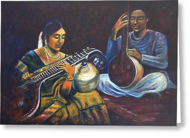 Playing Musical Instruments Greeting Cards - Veena Tamboora Greeting Card by Usha Shantharam