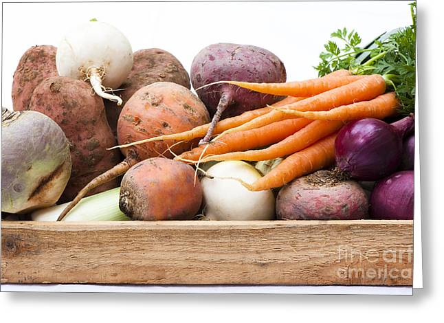 Vulgaris Greeting Cards - Veg Box Greeting Card by Anne Gilbert