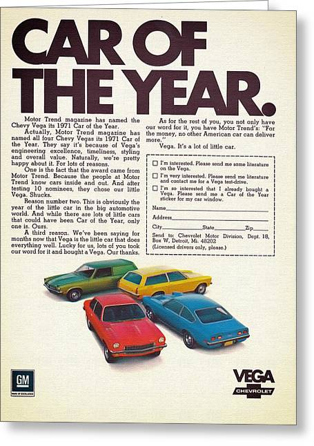 Gm Greeting Cards - Vega - Car of the Year 1971 Greeting Card by Mountain Dreams
