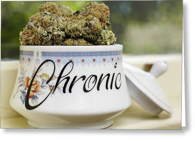 Veganically Grown Medical Cannabis Greeting Card by Stock Pot Images