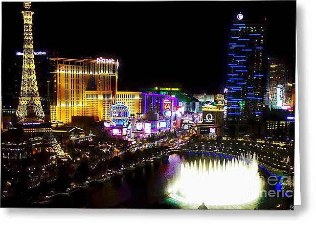Vegas at Night Greeting Card by Barbara Chichester