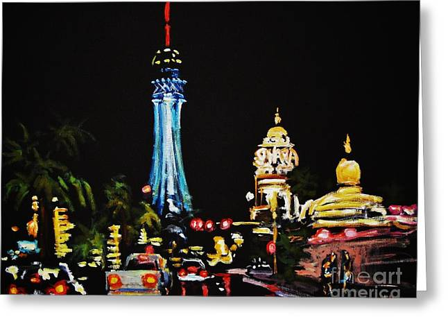 Vegas At Night Greeting Card by John Malone