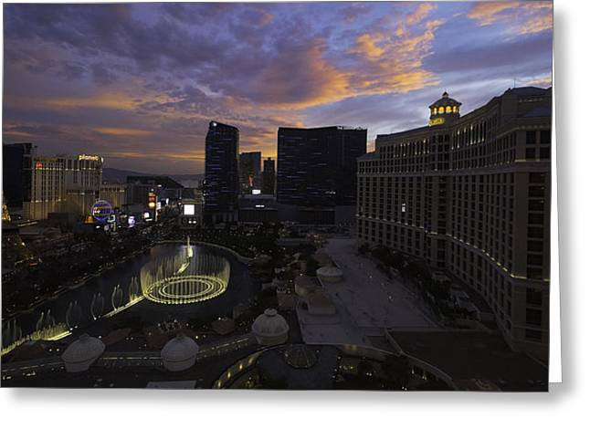 Bellagio Greeting Cards - Vegas by Night Greeting Card by Chad Dutson