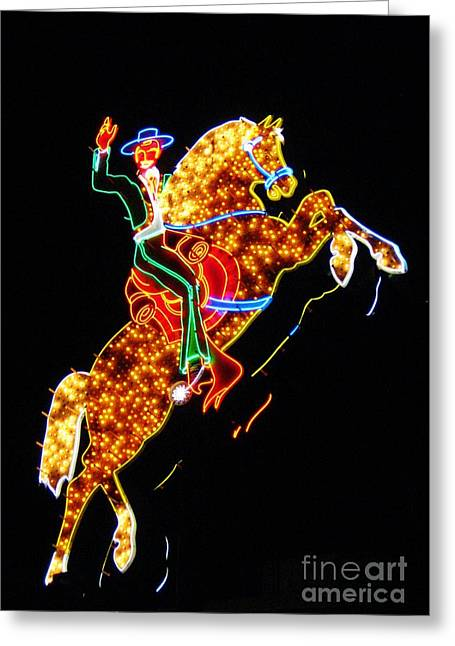 John Malone Artist Greeting Cards - Vegas Cowboy Sign Greeting Card by John Malone