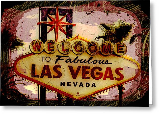Vegas Destructed Greeting Card by Ryan Burton
