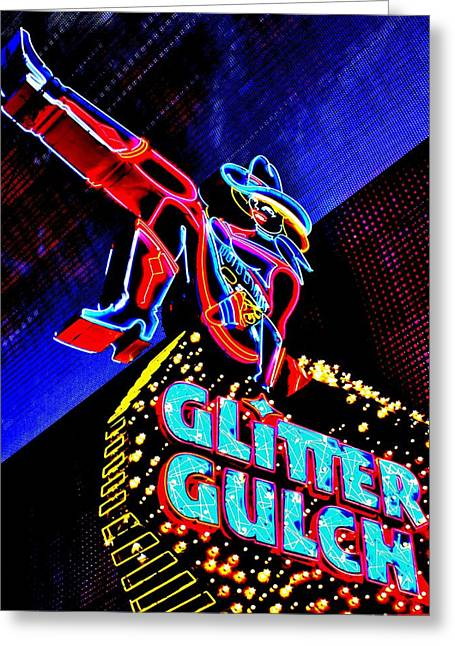 Glitter Gulch Greeting Cards - Vegas Glitter Greeting Card by Benjamin Yeager