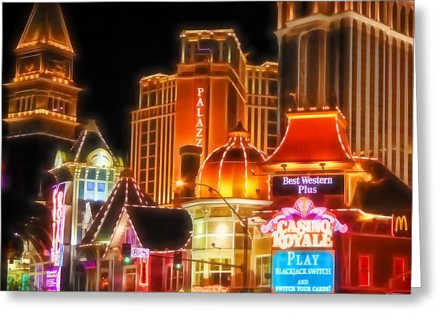 Photoart Greeting Cards - Vegas Lights Greeting Card by Lutz Baar