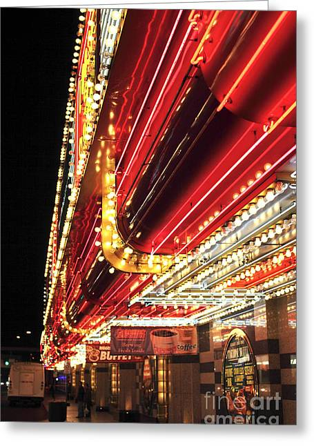 Freemont Street Greeting Cards - Vegas Neon Greeting Card by John Rizzuto