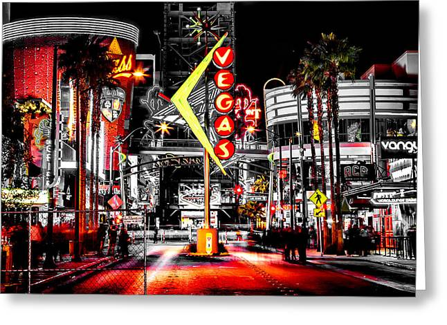Vegas Nights Greeting Card by Az Jackson