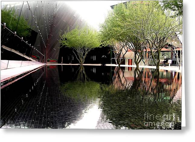 Vegas Reflections Greeting Card by Tom Riggs