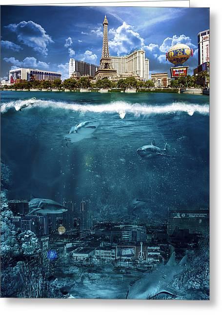 Planet Map Greeting Cards - Las Vegas Sharks Greeting Card by Nicholas  Grunas