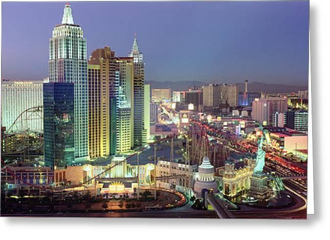 Vega Greeting Cards - Vegas Skyline Greeting Card by Jon Neidert