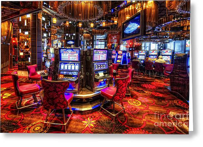 Las Vegas Art Greeting Cards - Vegas Slot Machines 2.0 Greeting Card by Yhun Suarez