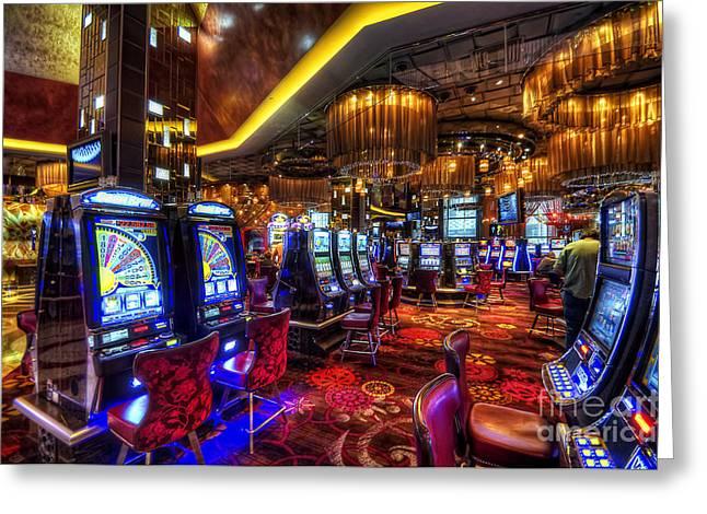 Las Vegas Art Photographs Greeting Cards - Vegas Slot Machines Greeting Card by Yhun Suarez