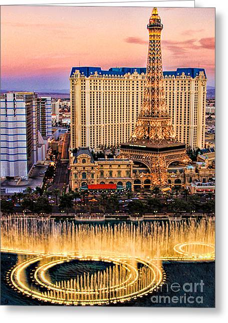 Tammy Espino Greeting Cards - Vegas water show Greeting Card by Tammy Espino