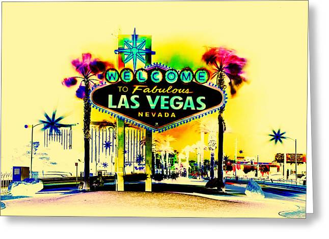 Hallways Greeting Cards - Vegas Weekends Greeting Card by Az Jackson