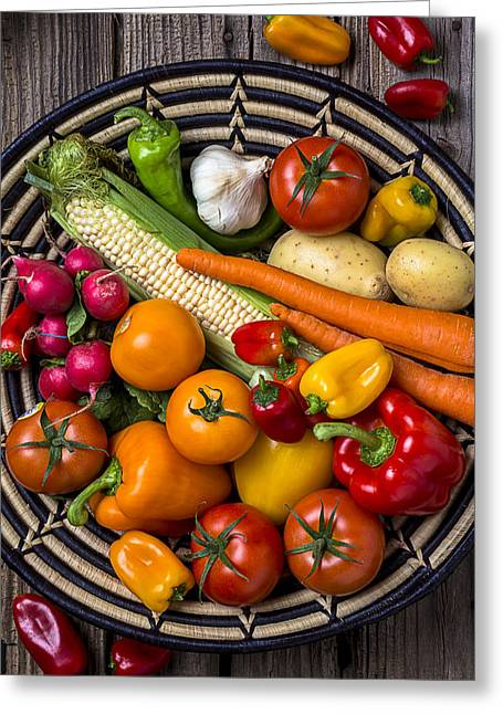 Vegetable Greeting Cards - Vegetable basket    Greeting Card by Garry Gay