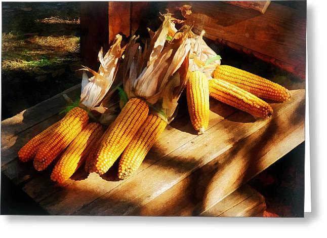 Corn Greeting Cards - Vegetable - Corn on the Cob at Outdoor Market Greeting Card by Susan Savad