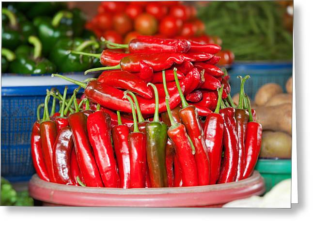Small Basket Greeting Cards - Vegetable For Sale At A Market Stall Greeting Card by Panoramic Images