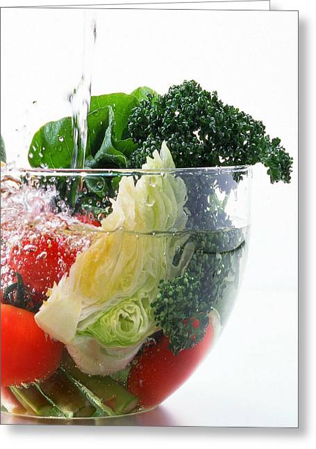 Broccoli Greeting Cards - Vegetable In Splash Water Greeting Card by Lanjee Chee