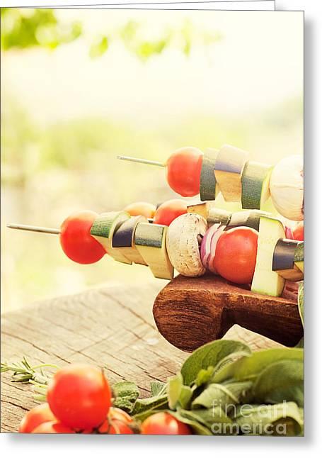 Mythja Greeting Cards - Vegetable kebab Greeting Card by Mythja  Photography