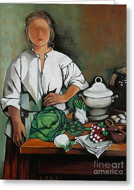 William Cain Greeting Cards - Vegetable Lady Wall Art Greeting Card by William Cain