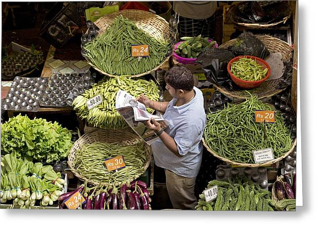 Man Looking Down Greeting Cards - Vegetable market, Mauritius Greeting Card by Science Photo Library