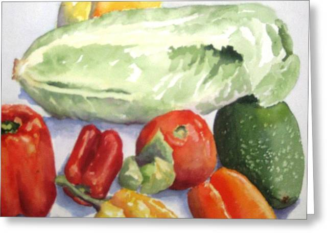 Lettuce Greeting Cards - Vegetable Melange Greeting Card by Maria Hunt