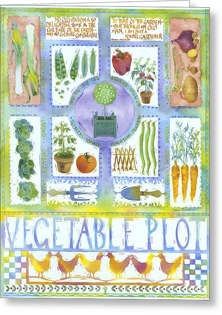 Julia Rowntree Greeting Cards - Vegetable Plot Greeting Card by Julia Rowntree