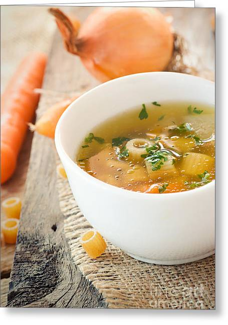 Vegetable Soup With Pasta Greeting Card by Mythja  Photography