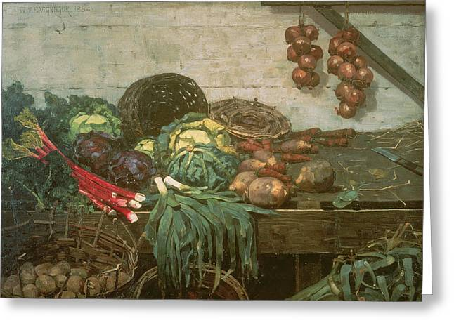 Broccoli Photographs Greeting Cards - Vegetable Stall, 1884 Greeting Card by William York MacGregor