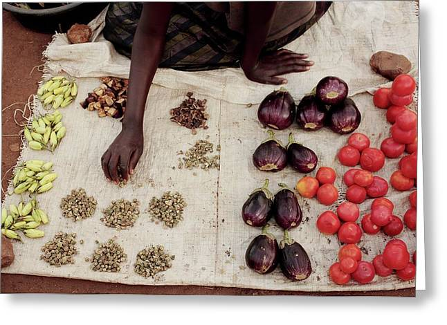 Vegetable Stall Greeting Card by Mauro Fermariello