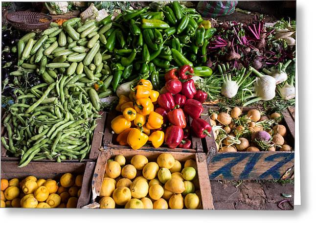 Marrakesh Greeting Cards - Vegetables For Sale In Souk, Marrakesh Greeting Card by Panoramic Images
