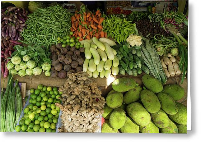 Vegetables For Sale On Main Street Greeting Card by Panoramic Images