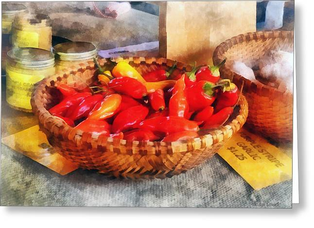 Pepper Greeting Cards - Vegetables - Hot Peppers in Farmers Market Greeting Card by Susan Savad