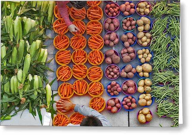 Local Food Greeting Cards - Vegetables Market Greeting Card by Dariusz Janczewski
