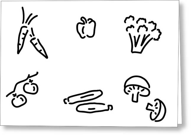 Broccoli Drawings Greeting Cards - Vegetables Mushrooms Greeting Card by Lineamentum