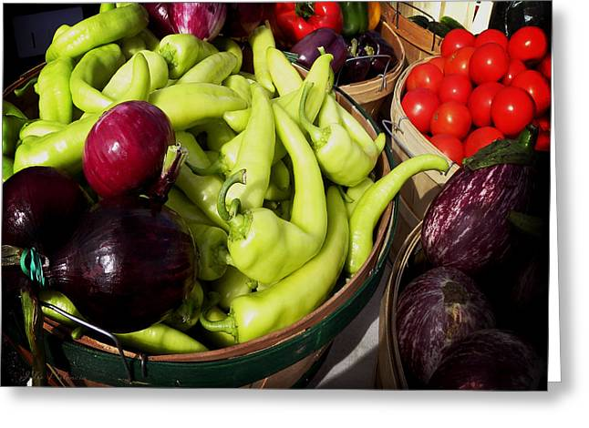 Fresh Produce Greeting Cards - Vegetables Organic Market Greeting Card by Julie Palencia