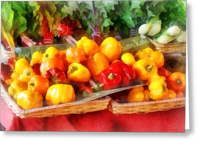 Vegetables - Peppers At Farmers Market Greeting Card by Susan Savad