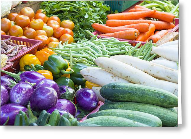 Vegetables Stand In Wet Market Greeting Card by JPLDesigns