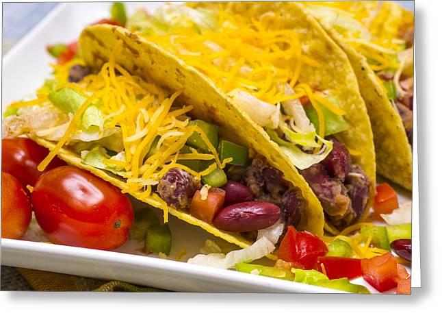 Taco Bell Greeting Cards - Vegetarian Bean Tacos Greeting Card by Donald  Erickson