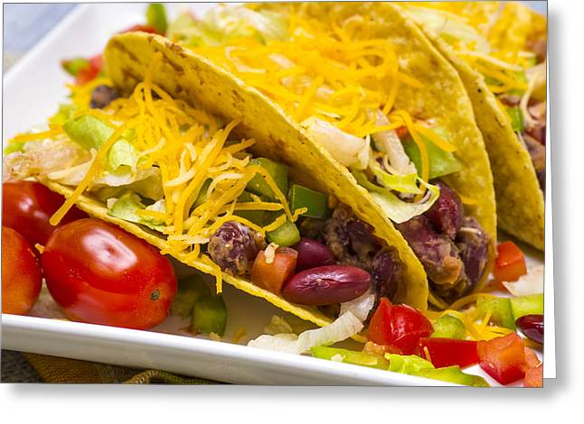 Low-fat Greeting Cards - Vegetarian Bean Tacos Greeting Card by Donald  Erickson