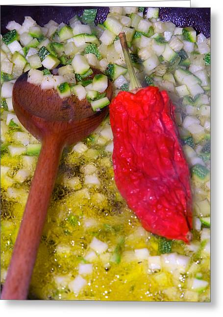 Banquet Digital Art Greeting Cards - Vegetarian dish preparation Greeting Card by Modern Art Prints